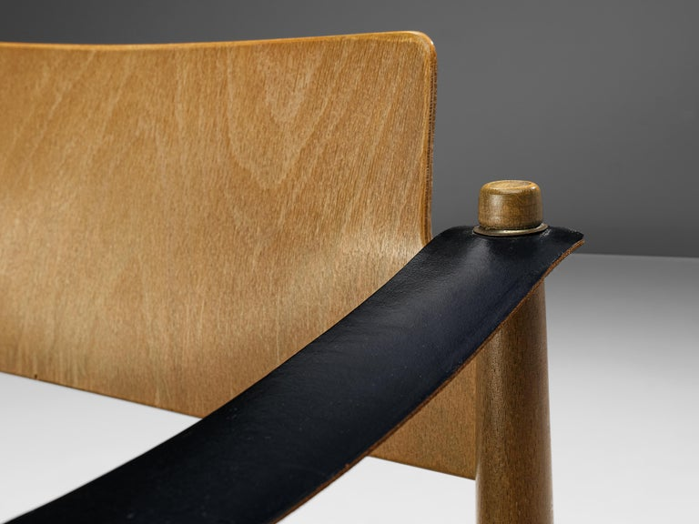 Mid-20th Century Egon Eiermann for Wilde + Spieth Armchairs in Beech and Leather For Sale