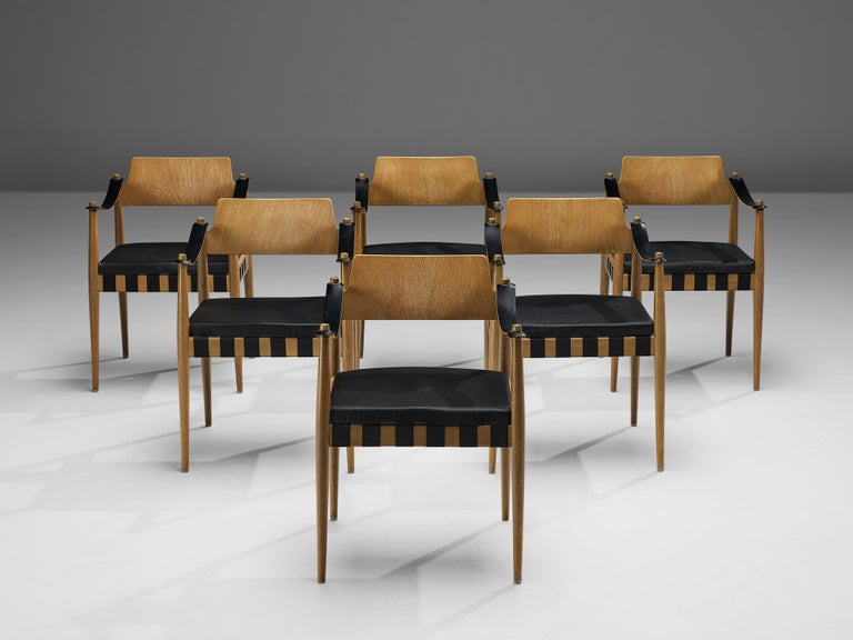 Egon Eiermann for Wilde + Spieth Armchairs in Beech and Leather For Sale 1