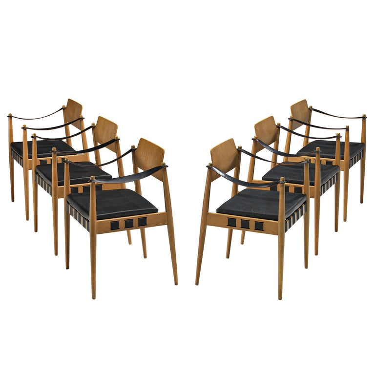 Egon Eiermann for Wilde + Spieth Armchairs in Beech and Leather For Sale