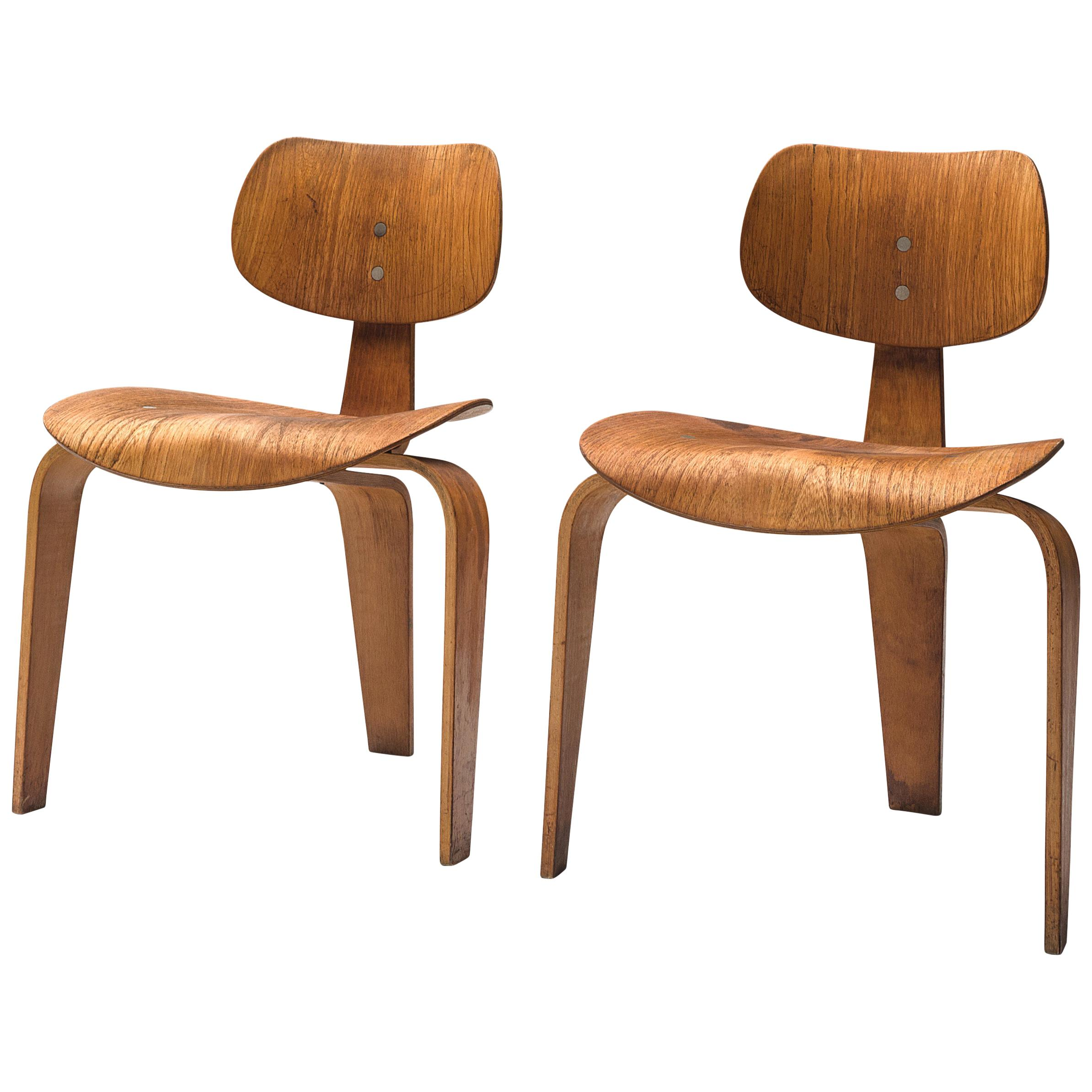 Egon Eiermann for Wilde + Spieth Pair of SE 42 Chairs in Plywood