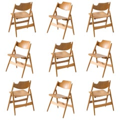 Egon Eiermann Large Set of Folding Chairs Model SE18