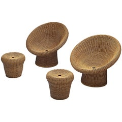 Egon Eiermann Two E10 Wicker Lounge Chairs with Ottoman