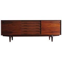 Egon Kristensen Scandinavian Midcentury Dark Wood Sideboard, 1950s