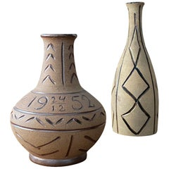 Egon Larsson, Unique Vases Hand Painted Stoneware, Studio, Höganäs, Sweden 1950s