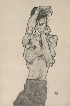 "R. Layni, Zeichnungen folio, ""Male Nude in Red Loincloth"" Collotype plate II"