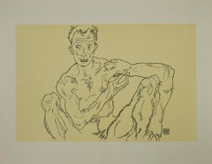 Crouching Male Nude - Original Lithograph after Egon Schiele - 2007