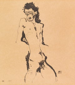 Male Nude I (Self-Portrait) - Lithograph, Egon Schiele, Portrait