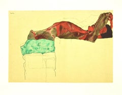 Reclining Male Nude with Green Cloth - Lithograph after E. Schiele - 2007