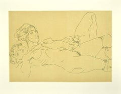 Two Reclining Nude Girls - Original Lithograph after Egon Schiele - 2007