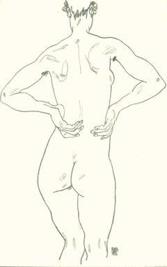 Weiblicher Rückenakt - Original Lithograph after Egon Schiele - 1990