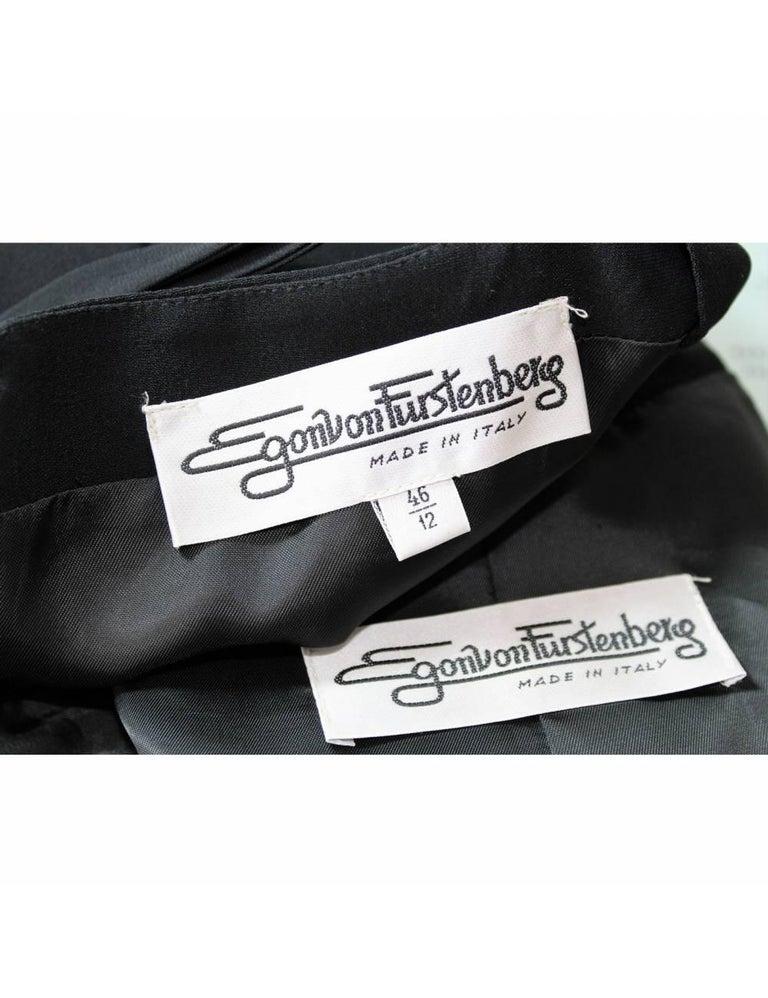 Egon Von Furstenberg Black Viscose Stones Jewel Evening Suit Dress and Jacket  For Sale 7