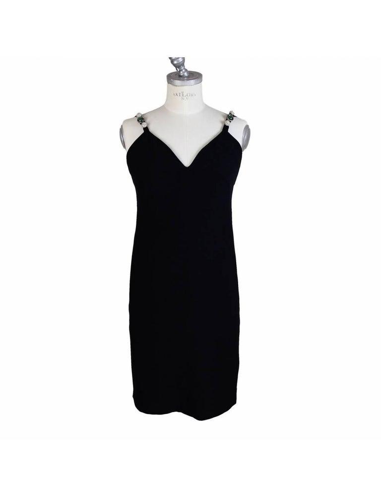 Egon Von Furstenberg Black Viscose Stones Jewel Evening Suit Dress and Jacket  For Sale 3