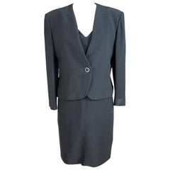 Egon Von Furstenberg Black Viscose Stones Jewel Evening Suit Dress and Jacket