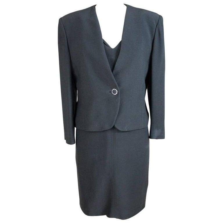 Egon Von Furstenberg Black Viscose Stones Jewel Evening Suit Dress and Jacket  For Sale