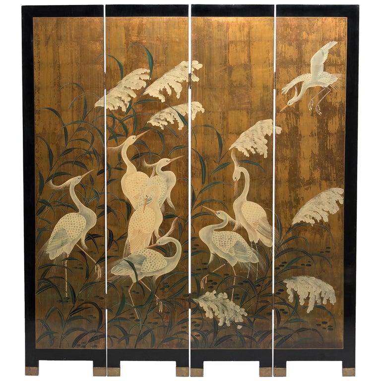 """Egrets beneath Tall Grass"" Japanese Gilt Four-Panel Screen For Sale"