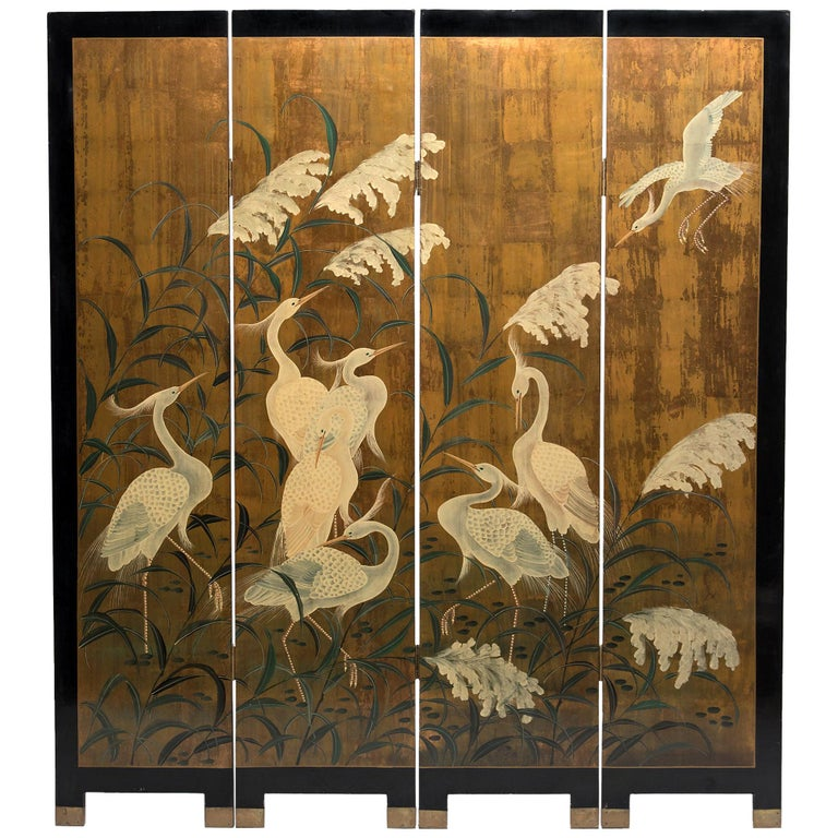 """Egrets beneath Tall Grass"" Japanese-style Gilt Four-Panel Screen For Sale"