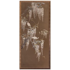 """Egrets on Wisteria Vines"" Japanese Embroidered Silk Tapestry"
