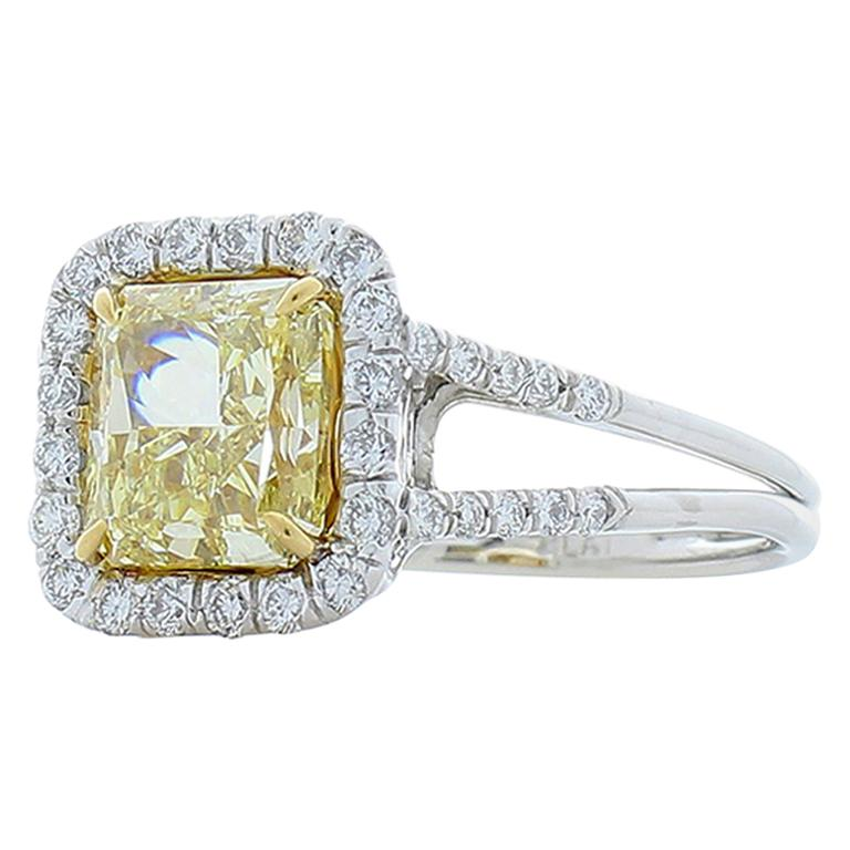 EGUSA Certified 2.70 Carat Radiant Yellow Diamond Platinum Cocktail Ring