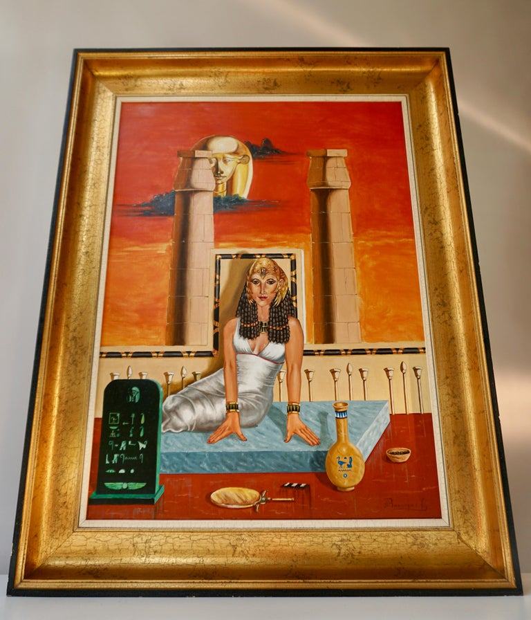 Egyptian Egypt Painting Sat Ra Daughter of the Sun by H Bauwens Belgium For Sale