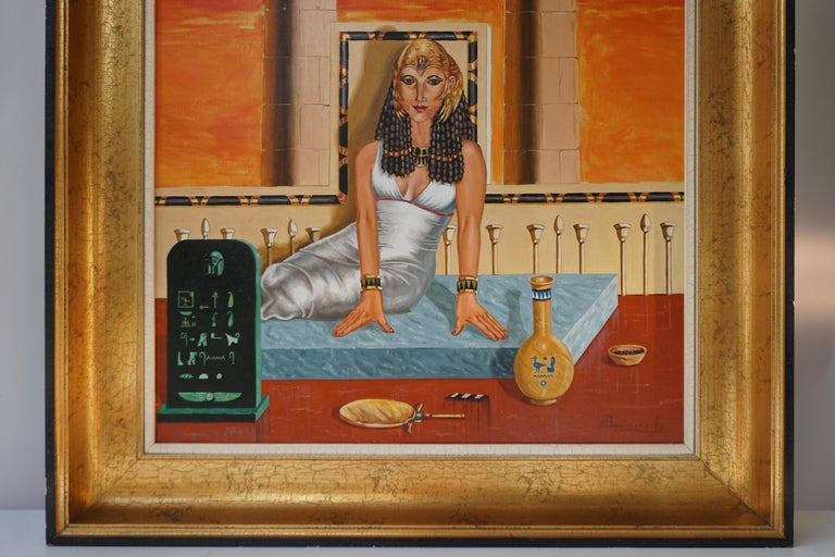 Belgian Egypt Painting Sat Ra Daughter of the Sun by H Bauwens Belgium For Sale