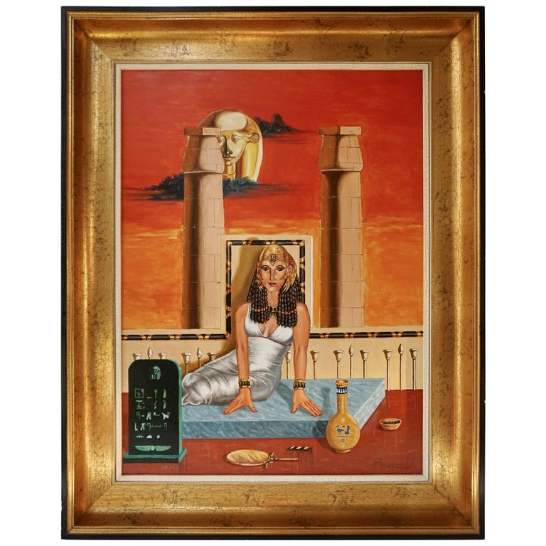 Egypt Painting Sat Ra Daughter of the Sun by H Bauwens Belgium For Sale