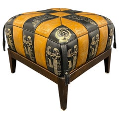 Egypt Pictured Pouf Ottoman Footstool Poof Pouffe Mad of Leatherette, 1970s