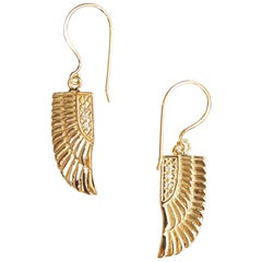 Egyptian 18 Carat Yellow Gold and Diamond Goddess Isis Wing Earrings