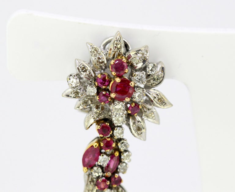 Women's Egyptian 18 Karat White Gold Ladies Clip-On Earrings with Diamonds and Rubies For Sale