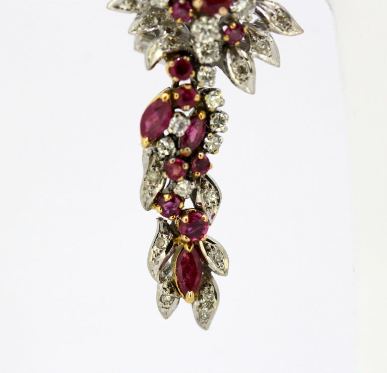 Egyptian 18 Karat White Gold Ladies Clip-On Earrings with Diamonds and Rubies For Sale 1