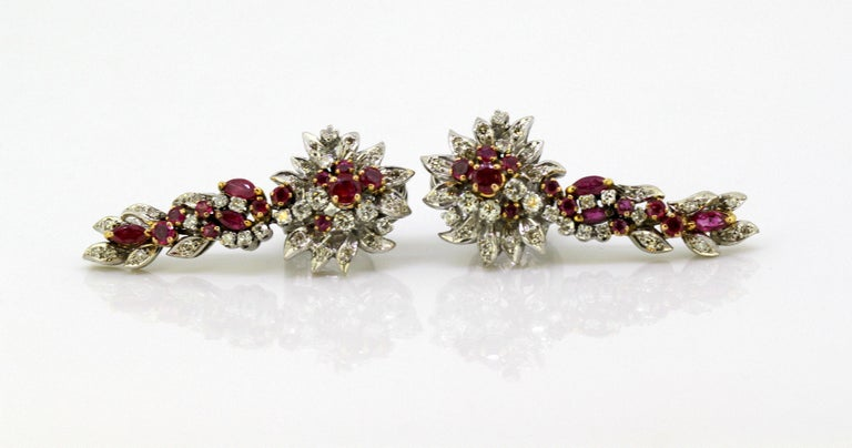Egyptian 18 Karat White Gold Ladies Clip-On Earrings with Diamonds and Rubies For Sale 2