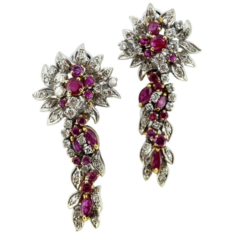 Egyptian 18 Karat White Gold Ladies Clip-On Earrings with Diamonds and Rubies For Sale