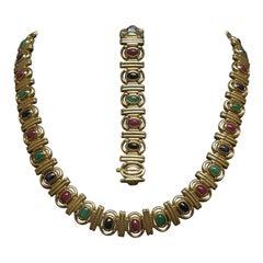 Egyptian Cleopatra Precious Gemstone Necklace Set