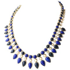 Egyptian Cleopatra Style Blue and Green Stones Gold Necklace