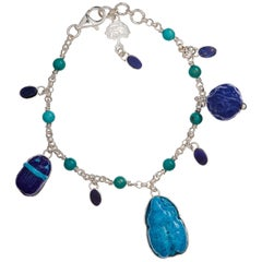 Egyptian Faience Charm Bracelet with Lapis and Turquoise Accents