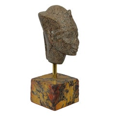 Egyptian Faux Porphyry Stone Bust on a Sienna Plinth, circa 1860