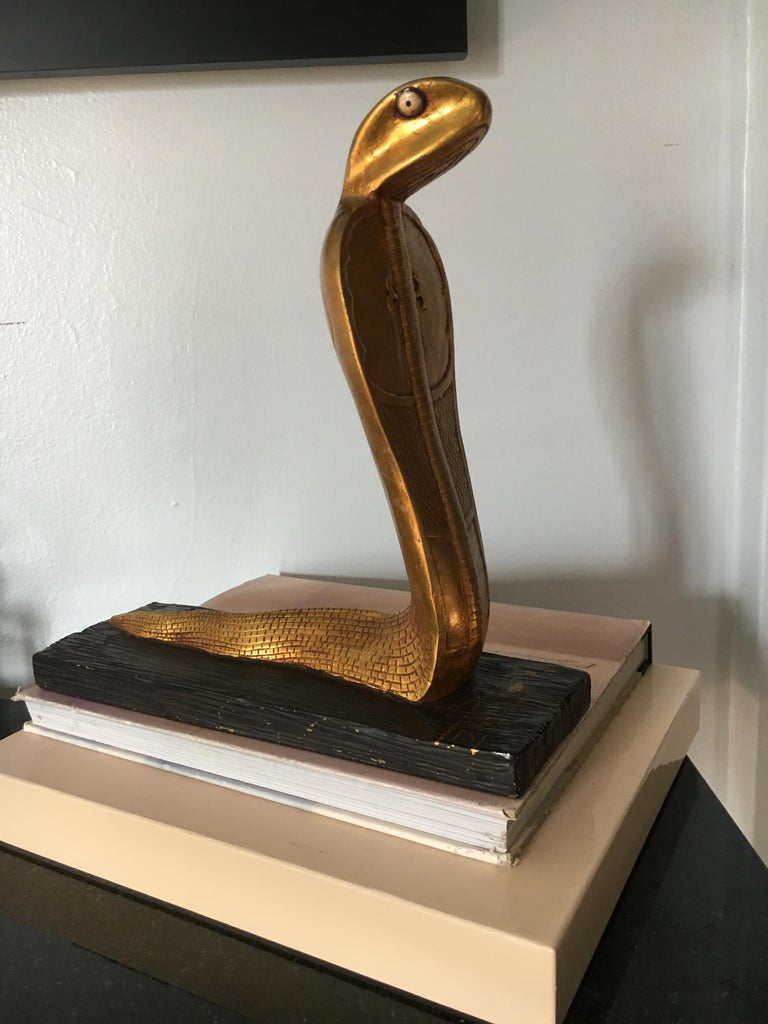 20th Century Egyptian Gilt Cobra Sculpture Bookend For Sale