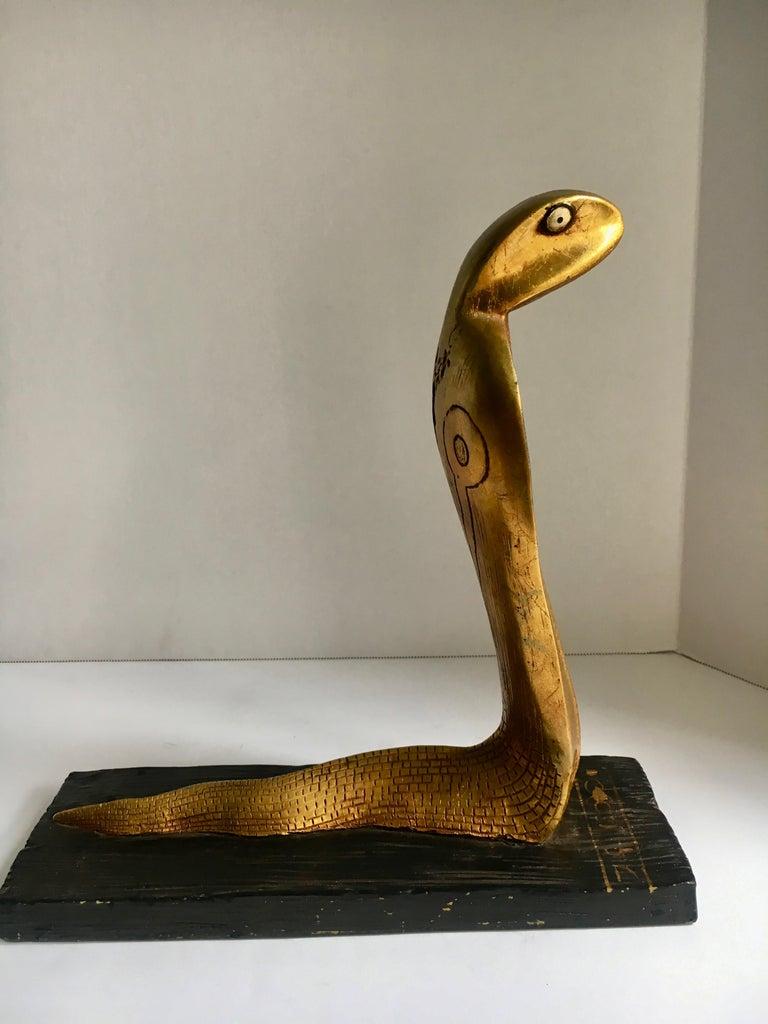 Gold Leaf Egyptian Gilt Cobra Sculpture Bookend For Sale