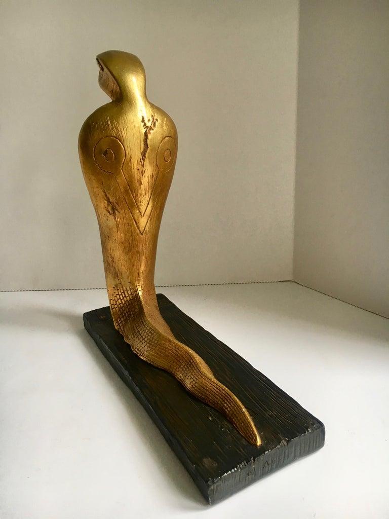 Egyptian Gilt Cobra Sculpture Bookend For Sale 1