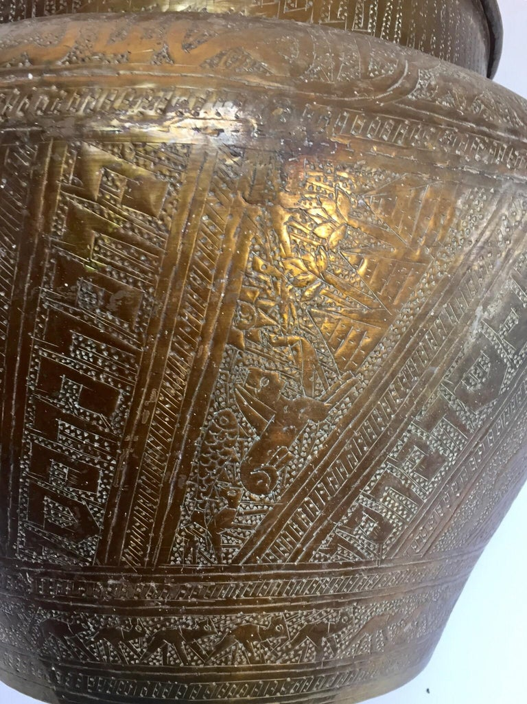 Middle Eastern Egyptian Hebraique Revival Hand Etched Brass Pot Jardiniere For Sale 4