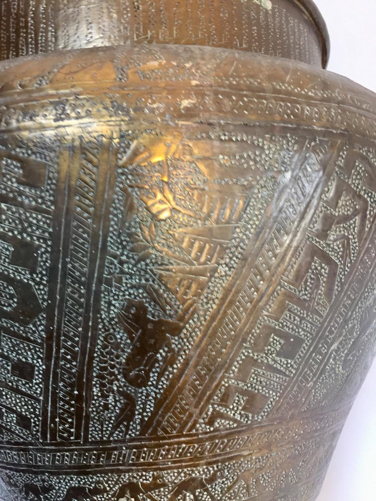 Middle Eastern Egyptian Hebraique Revival Hand Etched Brass Pot Jardiniere For Sale 6