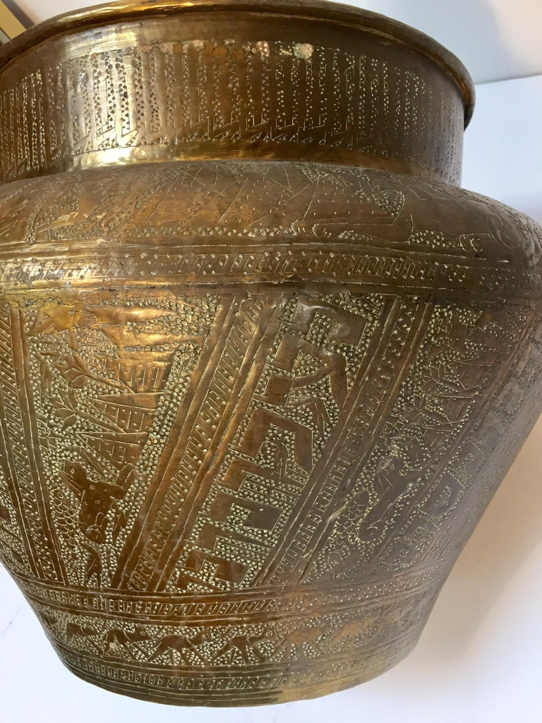Middle Eastern Egyptian Hebraique Revival Hand Etched Brass Pot Jardiniere For Sale 7