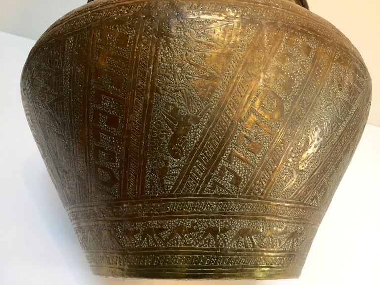 Middle Eastern Egyptian Hebraique Revival Hand Etched Brass Pot Jardiniere For Sale 8