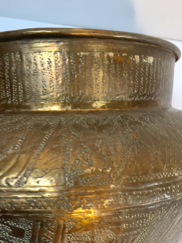 Middle Eastern Egyptian Hebraique Revival Hand Etched Brass Pot Jardiniere For Sale 9