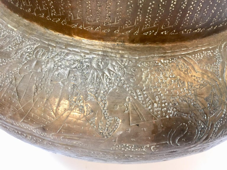 Middle Eastern Egyptian Hebraique Revival Hand Etched Brass Pot Jardiniere For Sale 11