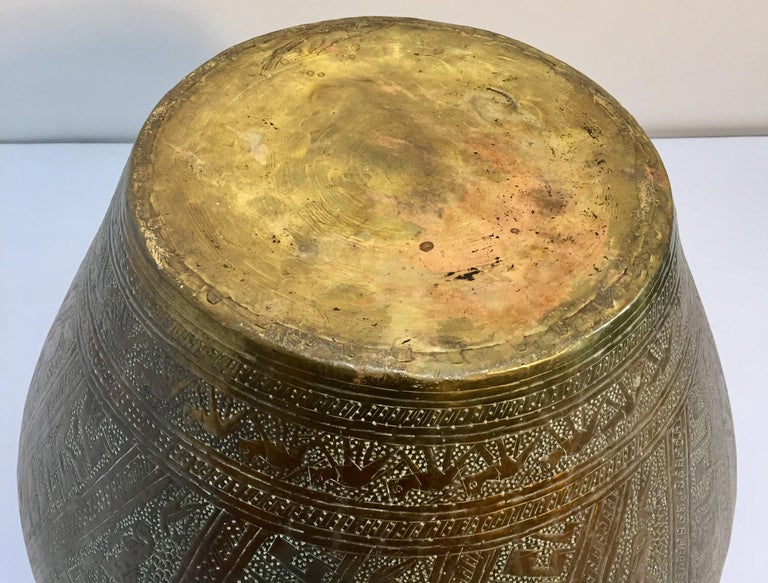 Middle Eastern Egyptian Hebraique Revival Hand Etched Brass Pot Jardiniere For Sale 13