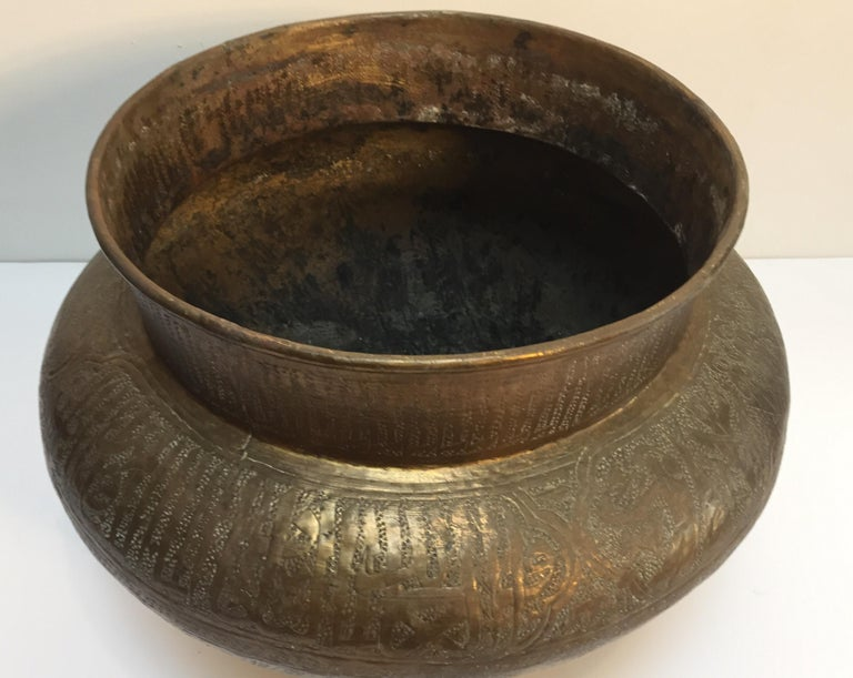Middle Eastern Egyptian Hebraique Revival Hand Etched Brass Pot Jardiniere For Sale 1