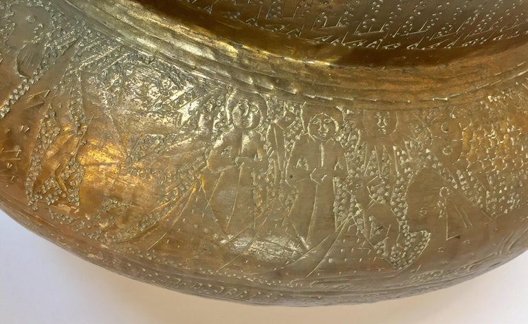 Middle Eastern Egyptian Hebraique Revival Hand Etched Brass Pot Jardiniere For Sale 2
