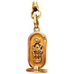 Egyptian Hieroglyphic Symbol Pendant Long Chain 14 Karat
