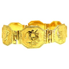 Egyptian Hieroglyphics Statement Cuff Bracelet 18 Karat Gold