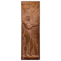 """Egyptian in Art Deco Manner,"" Unique Sculptural Relief Panel with Hieroglyphics"